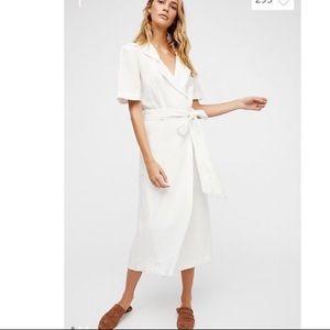 Free People Klara Wrap Dress Linen White XS or S